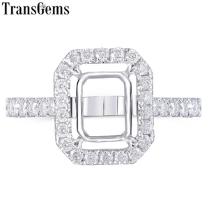 Image 1 - Transgems 14K białe złoto Halo pierścień typu Semi Mount bez 7*9mm szmaragd kamień, ale z Moissanite akcenty dostosowane pierścień