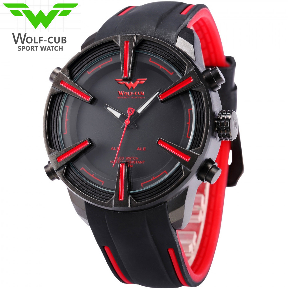 American Wolverine WOLF-CUB dual movement LED watch men's brand sports digital Relogio Masculino retro alloy quartz watch lone wolf and cub omni vol 6