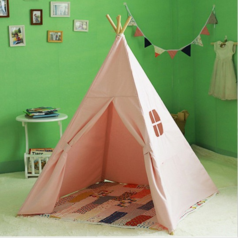 Four Poles Children Teepees Kids Play <font><b>Tent</b></font> Cotton Canvas Teepee White Playhouse for Baby Room Tipi Baby toys