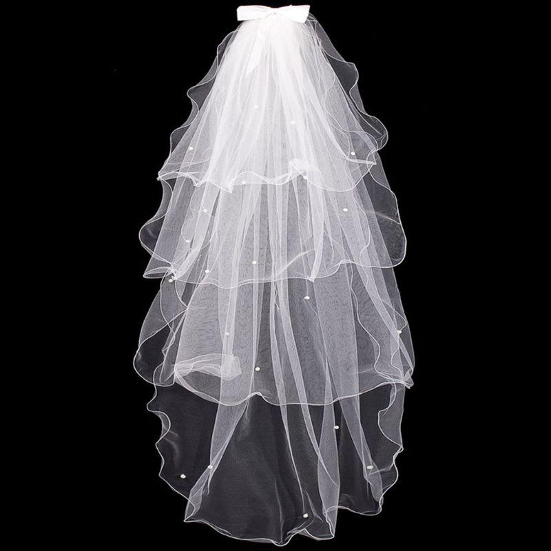 Tulle Wedding Dress Veils White Bowknot Bridal Multi Layer