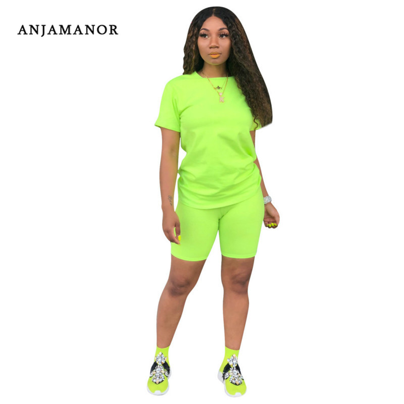 ANJAMANOR Casual Two Piece Set Top And Pants Neon Green Yellow Pink Short Sets For Women Cute Summer Outfits Tracksuit D41-AC55