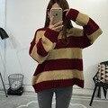 Outono Inverno das mulheres Soltas de Malha Listrado Ocasional de Manga Comprida O-pescoço Pullover Grosseiro Do Vintage de Malha Jumper Sweater Casaco Feminino