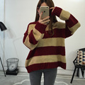 Women's Autumn Winter Loose Knitted Striped Casual Long Sleeve O-neck Pullover Vintage Coarse Knit Female Jumper Sweater Coat