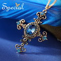 Special New Fashion Cross Necklaces & Pendants CZ Diamond Vintage Maxi Necklace Gold Plated Jewelry Gifts for Women S1615N