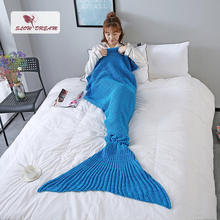 купить Slowdream Throw Mermaid Tail Blanket Knitted Crochet Knitted Blanket For Adult Kids TV Sofa Bed All Season Birthday Gift Blanket дешево