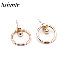 Kshmir New summer Acme contracted after the round metal stud earrings hanging earrings Female accessories