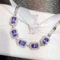 Natuurlijke blue tanzanite stone Armband Natuurlijke edelsteen armband 925 sterling zilveren mode Elegante Vierkante vrouwen partij sieraden