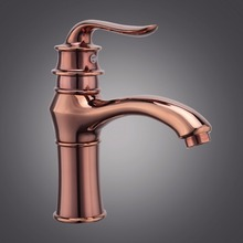 Free shipping Rose gold bathroom basin sink faucet from famous chinese sanitary ware with hot cold golden basin mixer