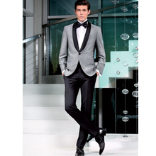 New Style Grey Formal Men Suits Slim Fit Tuxedo Skinny 2 Piece Blazer Custom Made Groom Prom Suits Wedding Suits (Jacket+Pants)