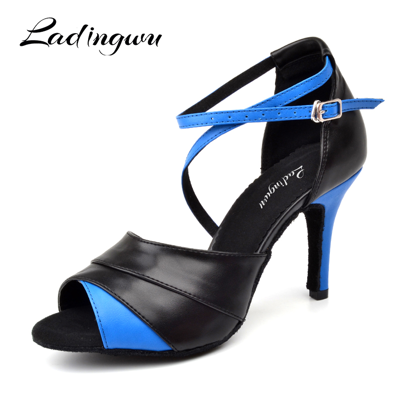 Ladingwu New Latin Dance Shoes Woman Salsa Shoes Red/Blue Artificial Leather Dance Sandals Soft Bottom Ballroom Dance Shoes