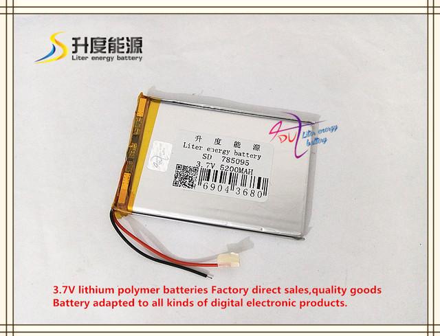 3.7 V 5200 mAH 785095 bateria de polímero de iões de lítio/bateria de Iões de lítio para tablet pc mp3 mp4 telefone celular banco de potência