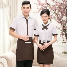 High Quality Work Clothes Restaurant Kitchen Waiter Uniform Short Sleeve Men Women Coat Summer Hotel Waitress Work Wear