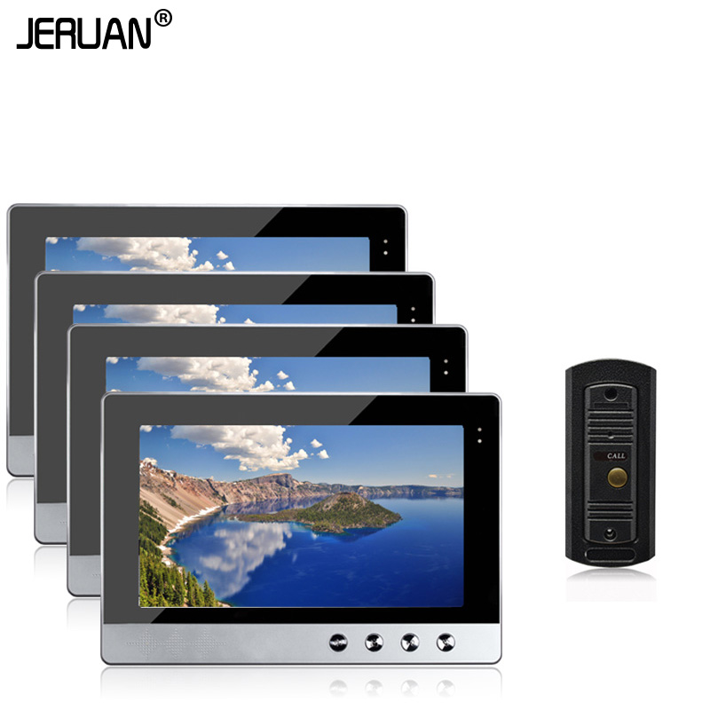 JERUAN New 10 inch Video Door Phone Intercom Audio System Kit Set + 4 Monitors + IR Night Vision Outdoor Camera In Stock jeruan new doorbell intercom doorphone wireless video door phone with memory image station outdoor night vision function
