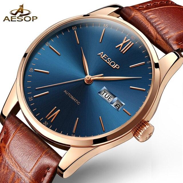 AESOP Watch Men Fashion Sports Simple Ultra Thin Watch Men Automatic Mechanical Wristwatch Leather Male Clock Relogio Masculino