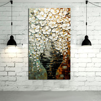Frameless Handpainted High Quality Hang Pictures Modern Wall Art On Canvas Oil Painting Pot Flower For