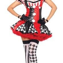 a0138c6ad7b Femmes Sexy vilain cirque Clown Costume Halloween Joker Clown Harley Quinn  Tutu jupe tenue fantaisie robe