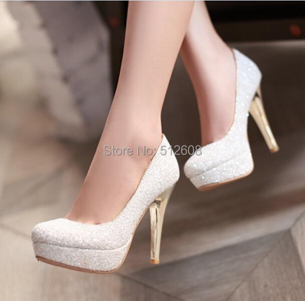 2015 Brillante partido de la Manera atractiva del verano del alto talón de las mujeres Bombas zapatos de la boda de La Bomba de la señora tacones spool negro oro blanco más tamaño
