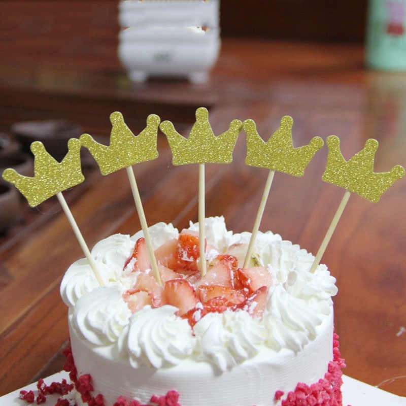 FLYDREAM 1bag Crown Princess Cake Toppers Flag Cupcake Birthday Party Kids Happy Wedding