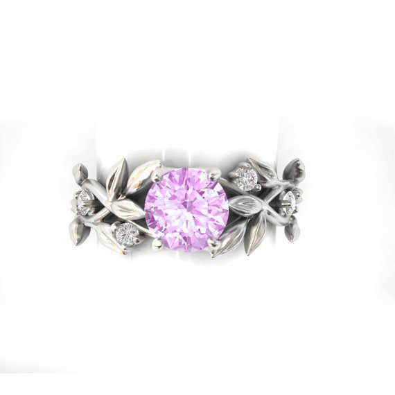 2018 ผู้หญิงเงินสีงานแต่งงานแหวน Leaf Design Luxury Cubic Zirconia แหวนของขวัญเครื่องประดับ Bijoux Anillos