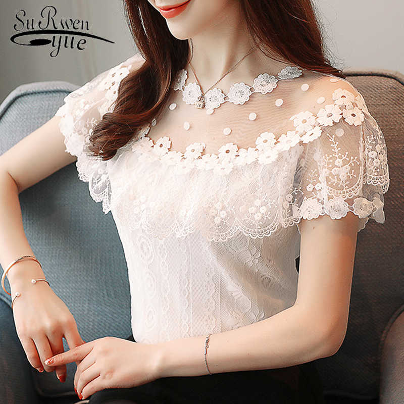 Sexy hollow lace women blouse shirt fashion 2019 new short sleeve summer women tops floral lace women's clothing blusas 0051 30