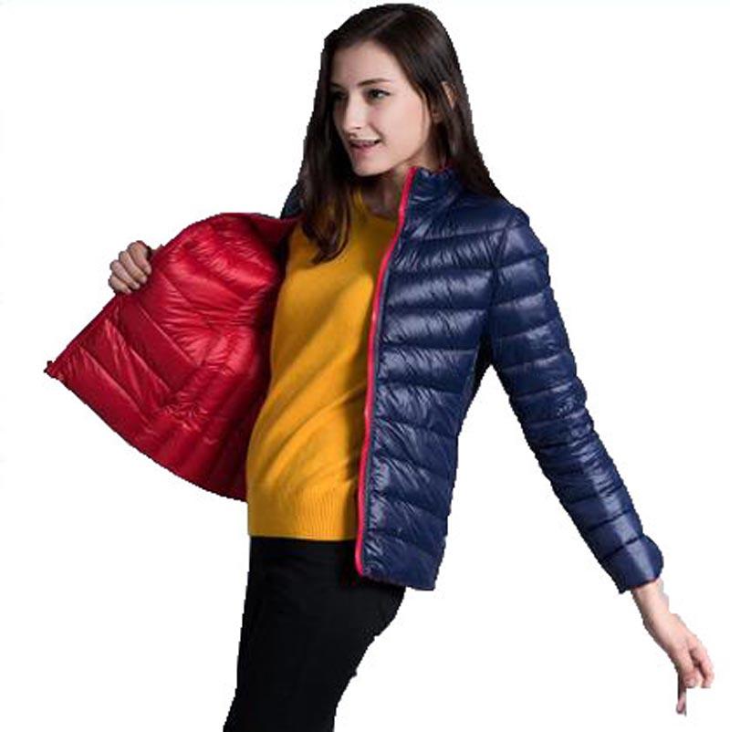 2016 New Winter Women 90% White Duck Down Jacket Women Two Side Light Down Jackets Warm Winter Coat Parkas for Female AE1302