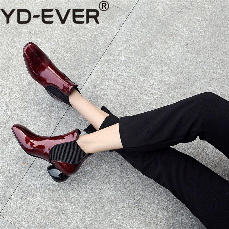 En Carré Base Talons Hiver Femmes Chaud Cheville Cuir Haute Yd Noir Chaussures vin Carrière Bout De Arrivée Véritable ever Femme Bottes Automne 1new Rouge Pk8On0wX