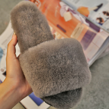 2016 Winter Warm sheep wool fur Slippers Adult Men And Women pantofle Household Slipper Soft Non-Slip Floor chinela