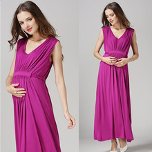 2016 Comfortable Maternity Dress V-neck Pregnant Dress S M L Women's Vestidos Plus Size Nursing Clothes Red Blue Rose Gray