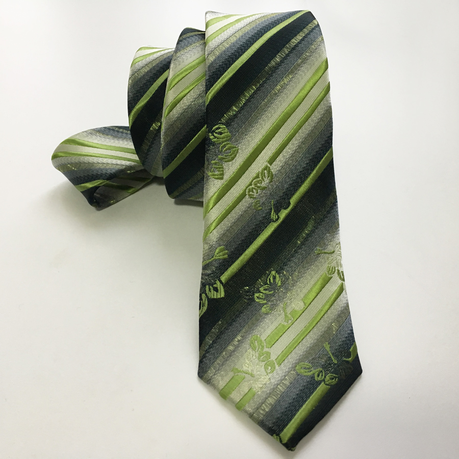 Desainer kurus kepribadian dasi atas, Garis-garis hijau neon dengan - Aksesori pakaian - Foto 1