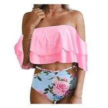 Maillot de bain avec une taille haute Bikini à volants épaule dénudée maillot de bain maillot de bain plage maillot de bain femmes maillot de bain