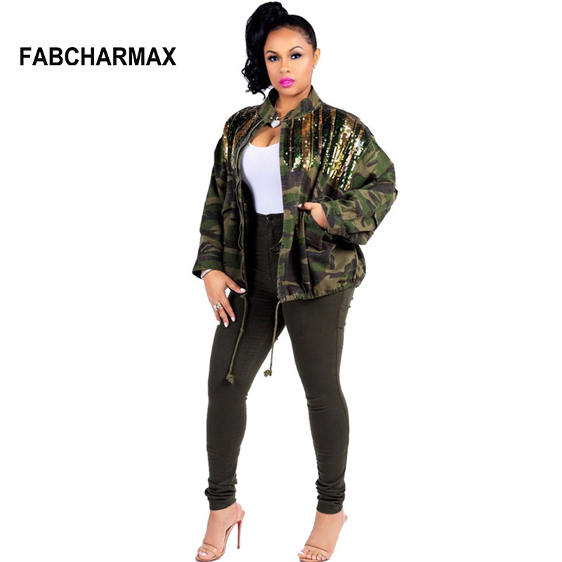 1d15e295cee 2018 fashion womens jackets and coats patchwork sequins camo jacket plus  size autumn streetwear chic army green bomber jackets-in Basic Jackets from  Women s ...