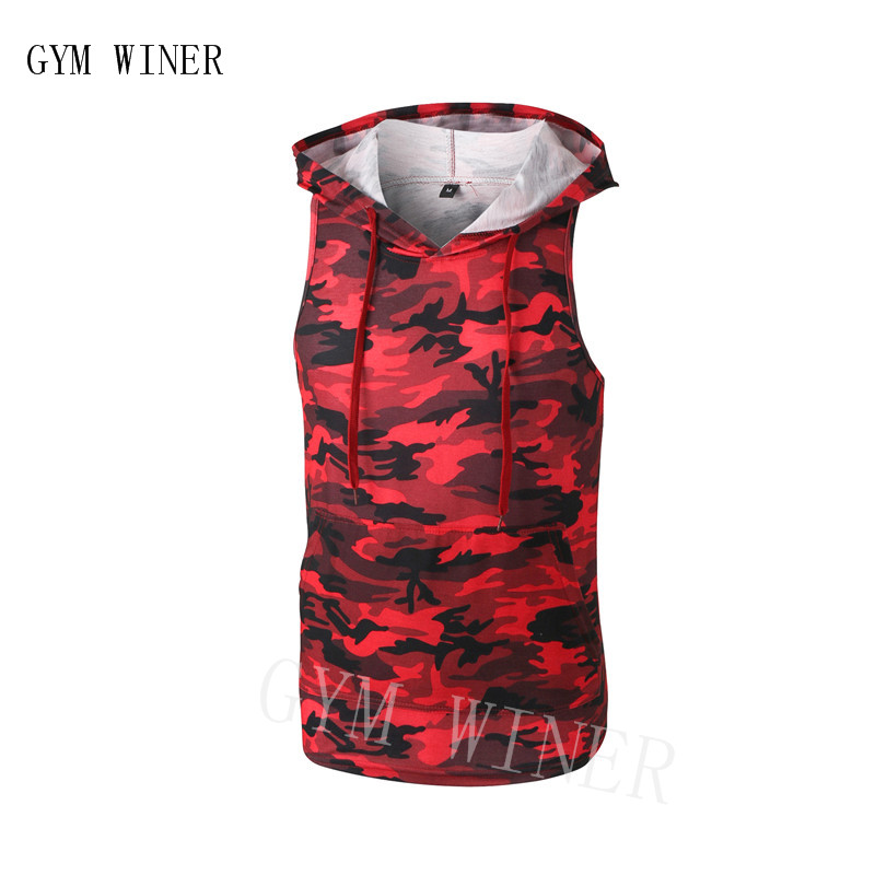Bodybuilding Clothing Fitness Man Hooded   Tanks     Tops   2019 Summer Newest Brand Mens Camouflage Gyms Stringers red Vest