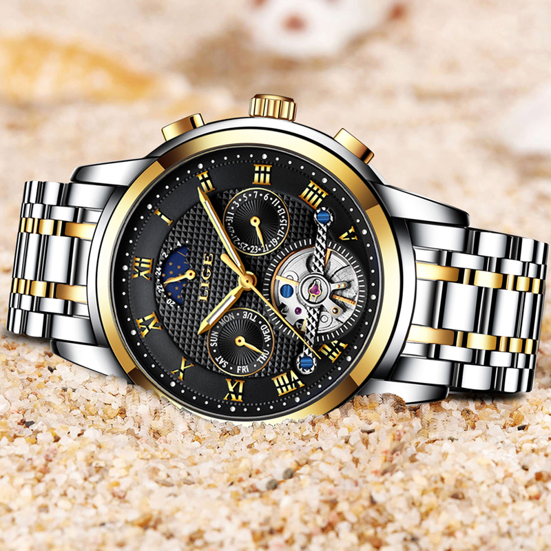 Relogio Masculino Mens Watches Top Brand LIGE Luxury Automatic Mechanical Watch Men Full Steel Business Waterproof Sport Watches