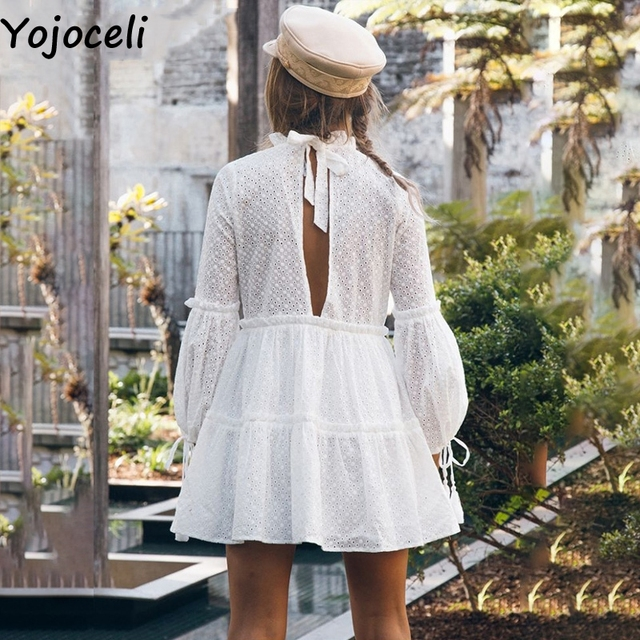 Yojoceli Lace tassel ruffle dress women Autumn party short sexy dress female vestidos Bow elegant daily dress