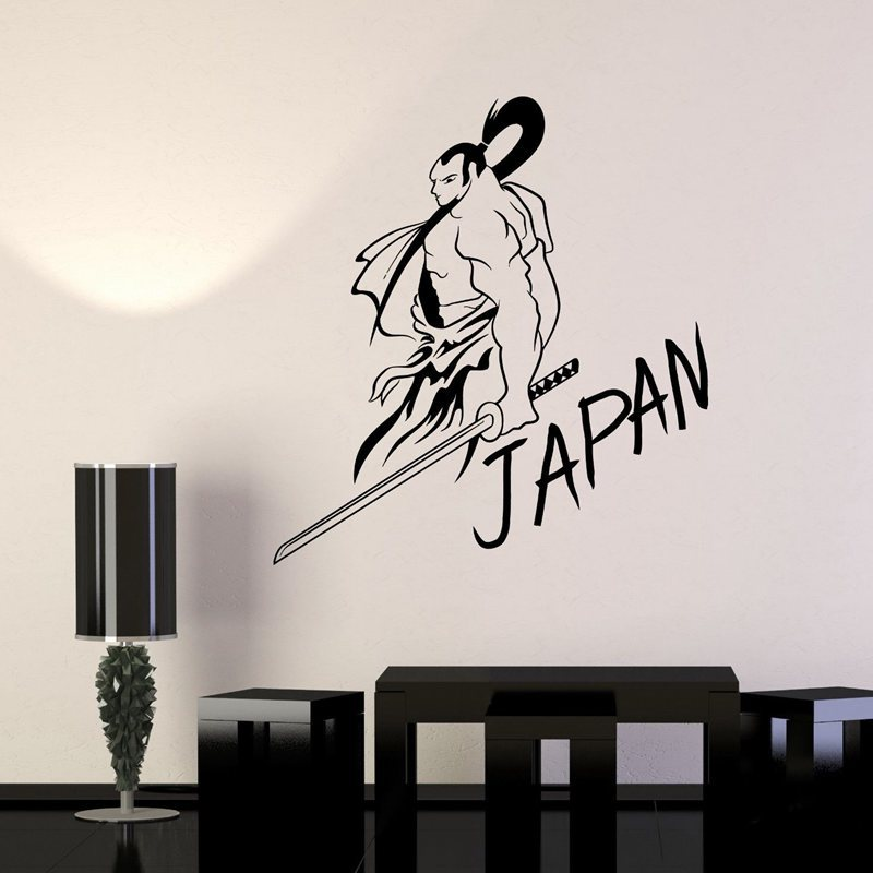 Wall Stickers Fashion Style Kendo Sticker Samurai Sword Decal Japan Ninja Poster Vinyl Art Wall Decals Skull Parede Decor Mural Kendo 1019 Sticker