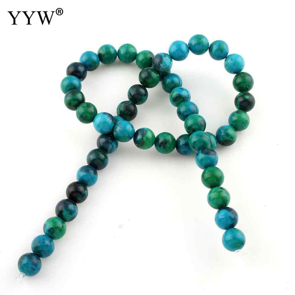 Koraliki z kamienia naturalnego Chrysocolla koraliki 4/6/8/10/12MM okrągły zielony kolor luźna paciorki do tworzenia biżuterii bransoletki zdrowie prezent