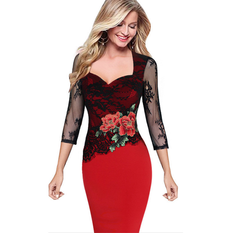 2020 Women Hollow Out 3/4 Sleeve Sexy Bodycon pencil office ladies Dress Elegant Floral Embroidery Lace Dresses Zip Back Vestido