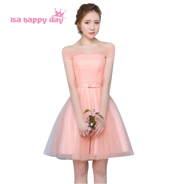 women\'s formal peach colored off shoulder v neck cheap tulle party ...