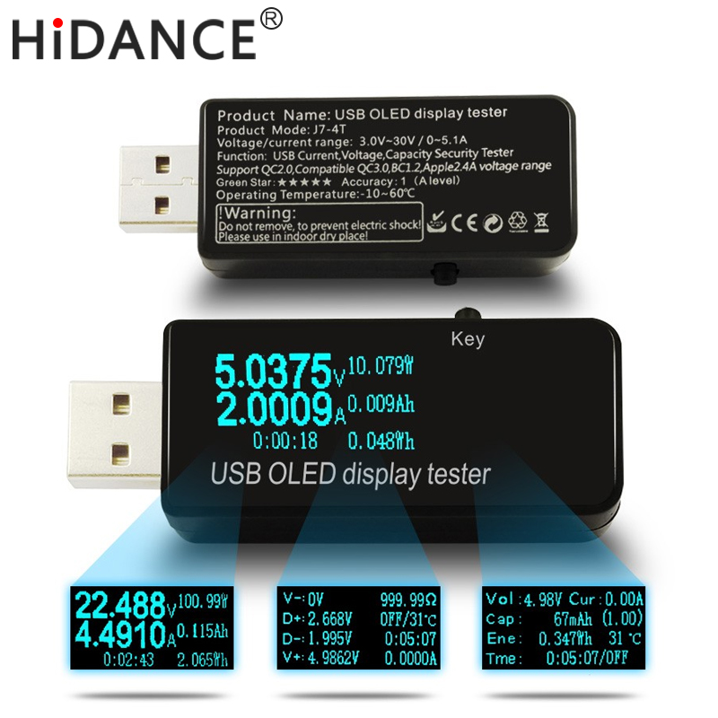 OLED 128x64 USB Tester DC voltmeter current voltage Meters Power Bank battery Capacity monitor qc3.0 Phone charger detector  dc 4 30v digital display usb charger voltage multimeter battery test doctor mobile power detector current meters