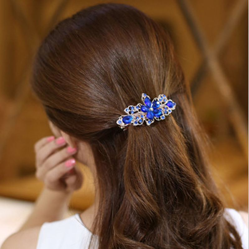 1Pcs Beauty Women Fashion Hair Clip Floral Crystal Rhinestone Barrette Hairpin   Headwear   Hair Accessories Hairclips Headdress