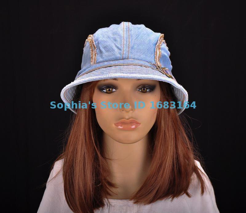M196 Blue Cute Stripes Cotton Sun Hat Brim Cap Bucket Summer Women's NWT