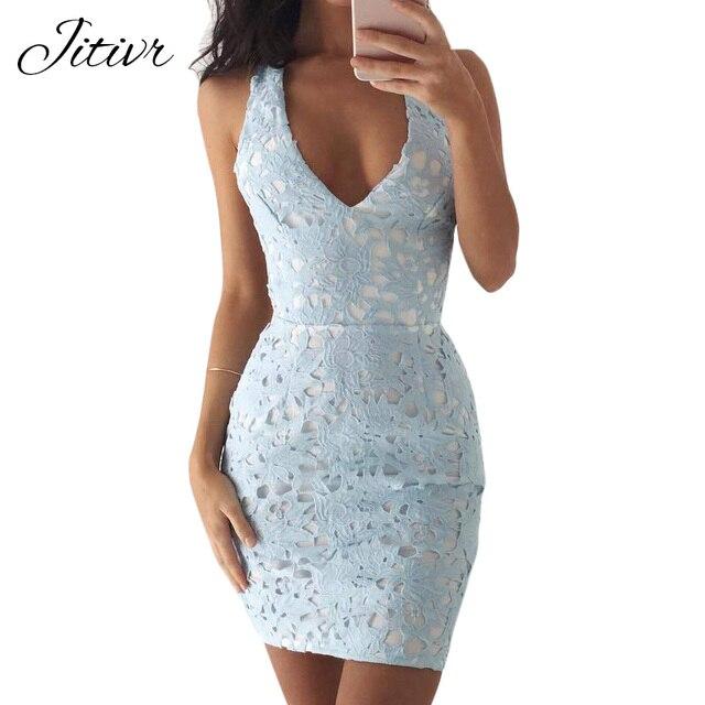 99f8af0a46 2017 Women s Lace Deep V Collar Dress Women Halter Sexy Mini Dresses Party  Club Vestidos Sleeveless Short Dress
