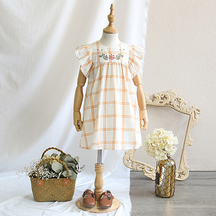 5370 Flowers Embroidery Plaid Casual Girl Dress A-line 2018 New Summer Kids Dresses For Girls Wholesale Baby Girl Clothes 5p/Lot