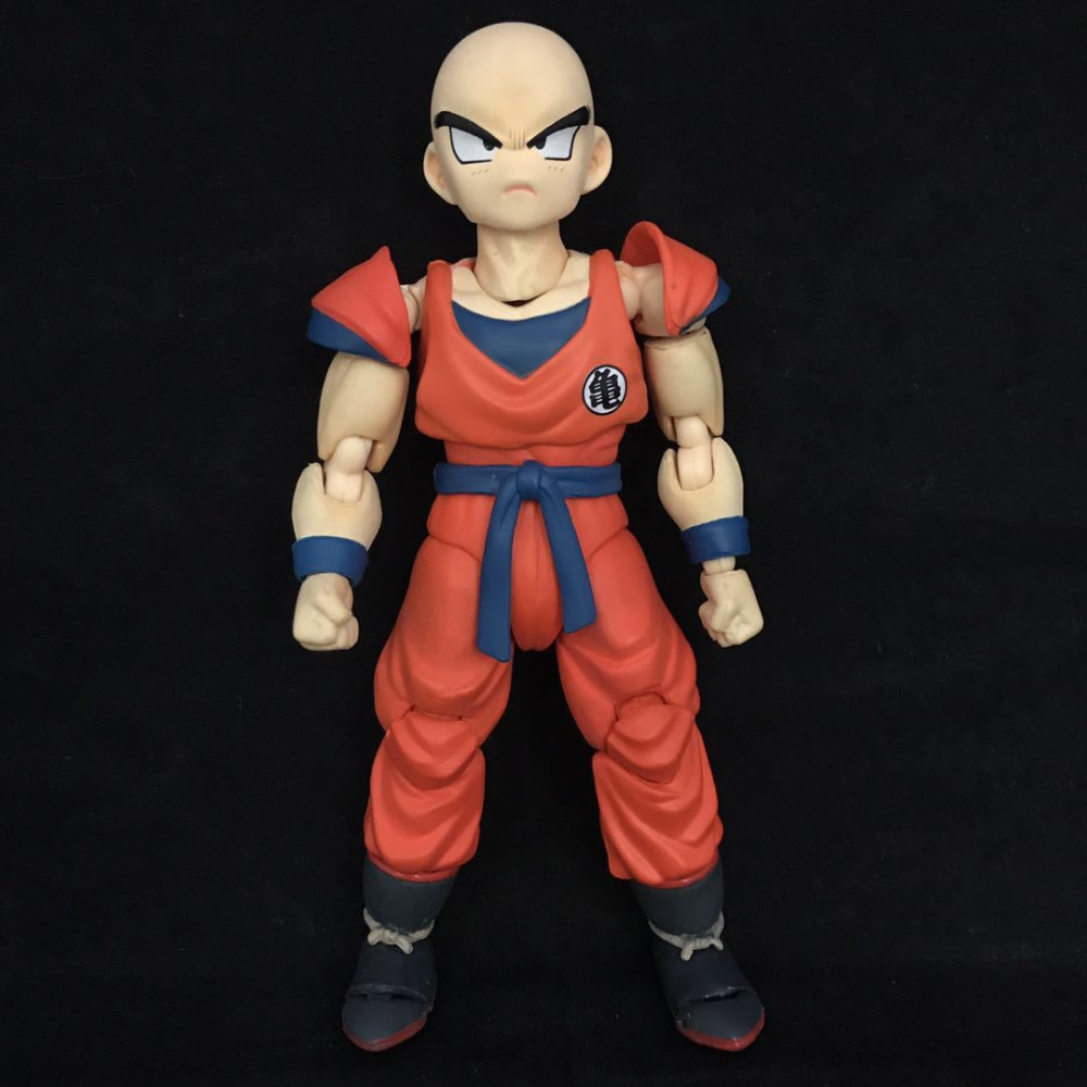 12cm Dragon Ball Z SHF Krillin Super Saiyan PVC Action Figure Movie&TV Models Dolls Gift For Childrens Christmas Free Shipping