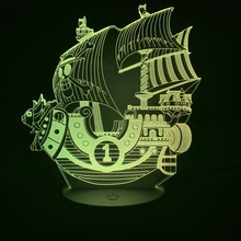 Anime One Piece Boat Thousand Sunny 3d Illusion Lamp Led Night Light for Kids Birthday Gift Childrens Bedroom Decor