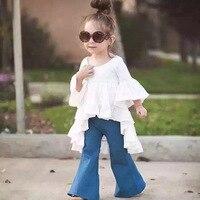 Filles Marque Vêtements Toddler vêtements Ensemble ruche Chemise Et pantalon tenues Bleu Blanc 2 t 3 t 4 t 5 t 6 t