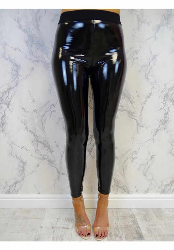 Leggings PU Reflexivo Preto das mulheres Sexy Hip Calças Stretch de Cintura Alta Leggings Brilhantes Magro Calças Plus Size S- leggins XL