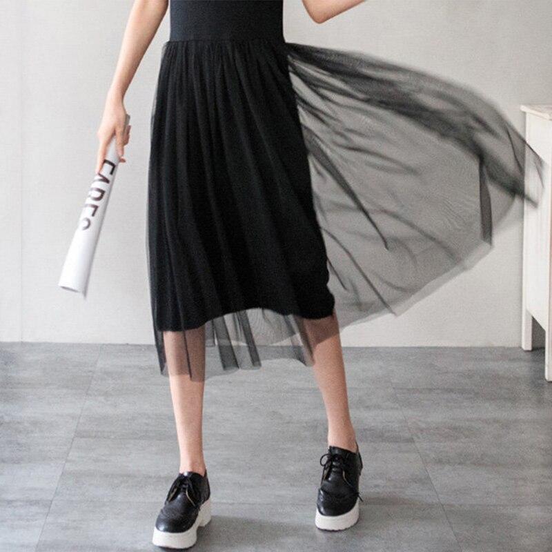 Fondo del tanque de moda de verano largo tul vestidos de verano de estilo corean