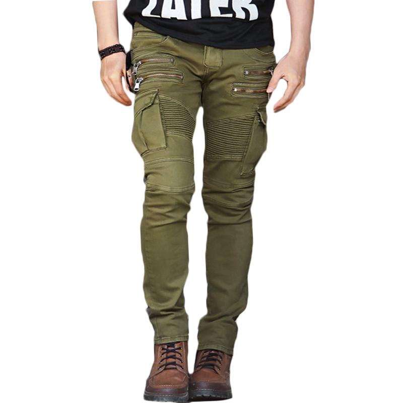 Men's High Quality Denim Skinny Biker Jeans Men Hot Casual Pants Clothes Slim Fit Trousers Streetwear Zipper Fly Army Green CK12