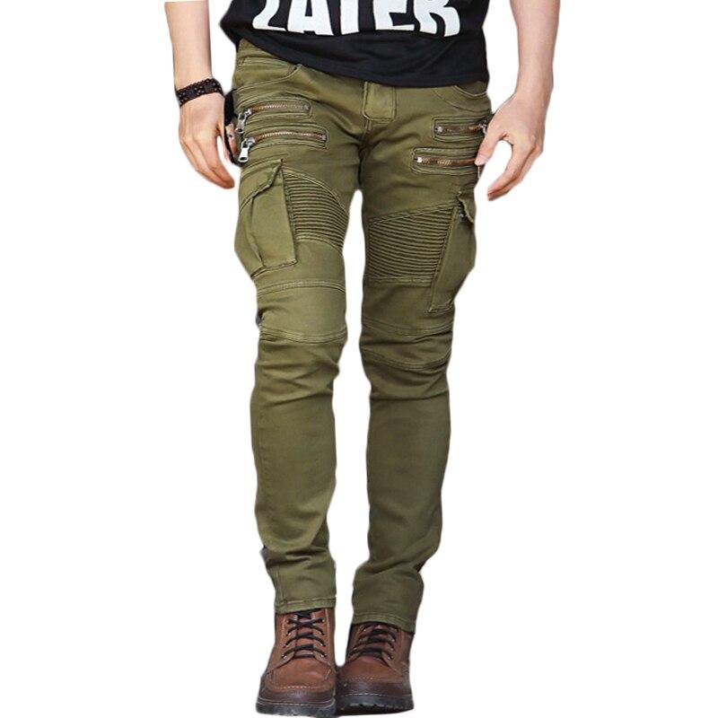 Moto biker slim fit denim jean fake zippers elastic fiber wear proof wild pencil pant retro streetwear army green trousers CK12